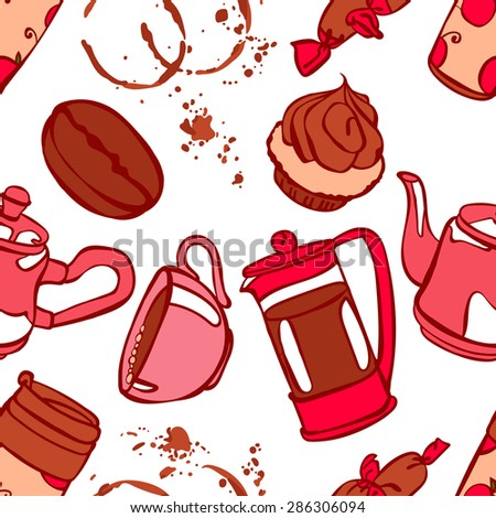 Coffee. Coffee theme. Desserts. Vector seamless illustration with the image of coffee, coffee pots, coffee cups, cake, coffee beans and coffee stains. Bright picture. Hot invigorating drink. - stock vector