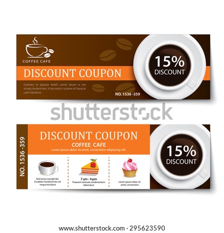 coffee coupon discount template design - stock vector