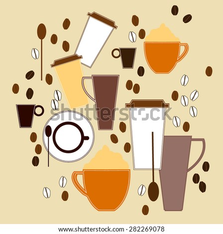 Coffee cup and beans - Illustration Coffee Cup, Take Out Food, Coffee - Drink, Cup, Paper  - stock vector