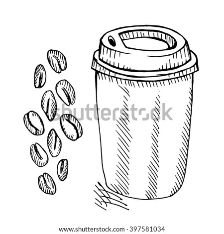 Coffee cup and beans on white background. Free hand drawn. Vector illustration.