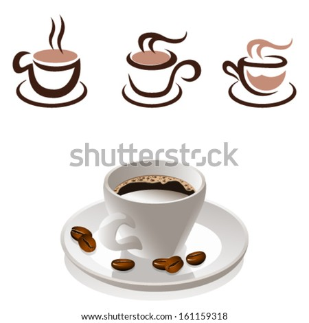 coffee cup and coffee beans - icon set - stock vector