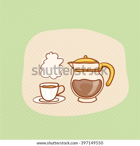 Coffee cup and glass pot sketchy clipart. Vector hot Coffee pot design element. Sketch for coffee house flyer, banner, ad, package, poster. Hand drawn cup of Coffee with halftone. Coffee pot icons - stock vector