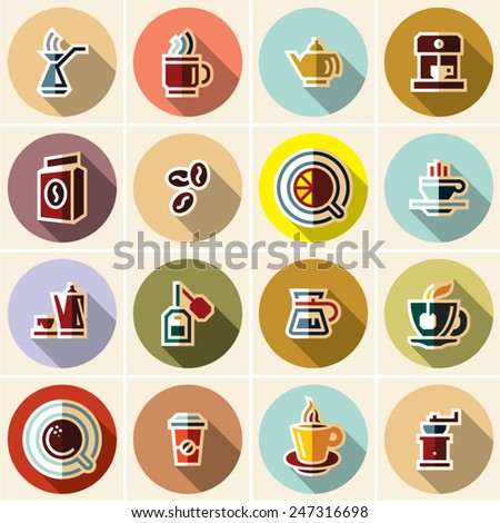 Coffee cup and Tea flat icons set for applications. Hot drinks. - stock vector