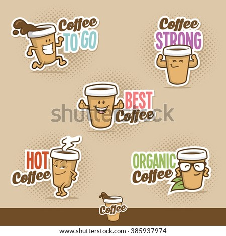 coffee cup character - stock vector