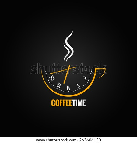 coffee cup clock time concept background - stock vector