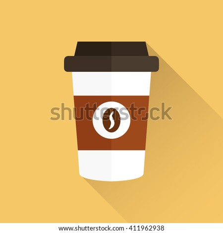 Coffee cup, coffee cup icon, vector illustration with shadow, coffee cup icon  - stock vector
