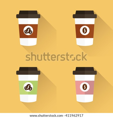 Coffee cup, coffee cup icon, vector illustration with shadow, coffee cup icon set