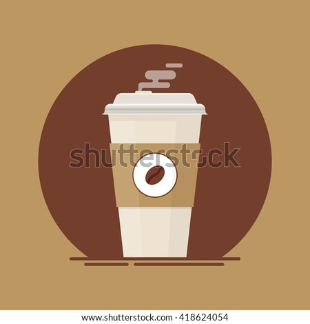 Coffee cup. Coffee cup to go. Paper coffee cup. Fresh coffee cup. Coffee cup vector. Coffee cup isolated on brown background.  Coffee cup in flat style illustration.  - stock vector