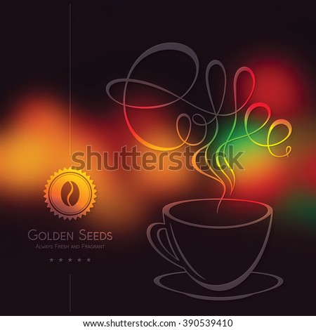 Coffee cup design on blurred vintage background. Restaurant menu design. Vector brochure template for cafe, coffee house, restaurant, bar. Food and drinks logotype symbols - stock vector