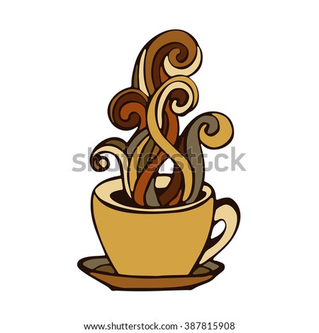 coffee cup doodle hand drawn icon with swirls of smoke