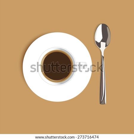 Coffee cup filled with black classic espresso vector illustration - stock vector