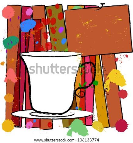 coffee cup, free copy space, menu, vector - stock vector