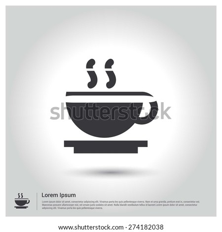 coffee cup icon, Flat pictograph Icon design gray background. Vector illustration. - stock vector