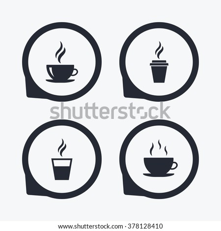 Coffee cup icon. Hot drinks glasses symbols. Take away or take-out tea beverage signs. Flat icon pointers. - stock vector