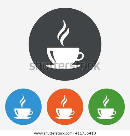 Coffee cup icon. Hot tea drink with steam. Circle buttons with flat sign. Vector - stock vector