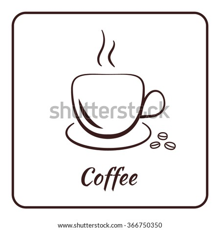 Coffee cup icon. Mug for cappuccino, espresso, mocha, latte, coffee drinks. Symbol logo for restaurant, cafe. Label concept menu. Silhouette isolated on white background in frame. Vector illustration - stock vector