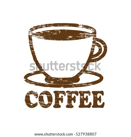 coffee cup icon rubber stamp vector illustration