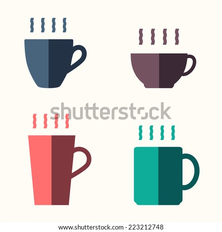 Coffee cup icon set , flat design - stock vector
