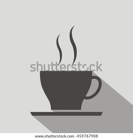 Coffee cup icon, vector illustration, on gray background