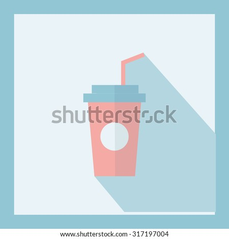 Coffee cup icon with straw,Vector illustration flat design - stock vector