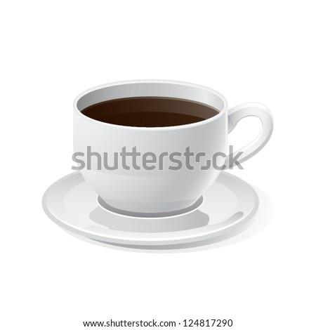 Coffee Cup Icon with White Background - stock vector