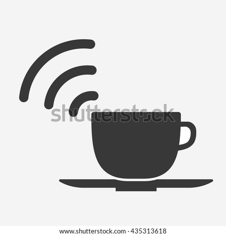 Coffee cup icon with WIFI symbol. - stock vector