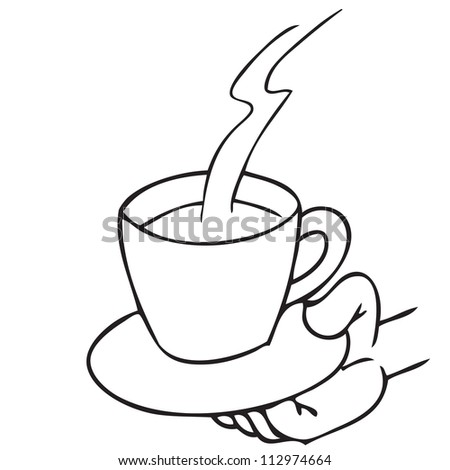 Coffee cup in hand doodle - stock vector