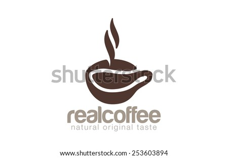 Coffee cup Logo cafe bar with steam design vector template. Natural Pure Original True Coffee bean Logotype concept. - stock vector