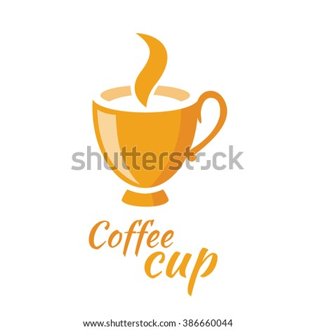 Coffee cup logo design flat isolated. Coffee and cup, logo and cafe logo, coffee cup, coffee icon, coffee shop, espresso and cafe logo, drink cappuccino, restaurant logo, coffee cup illustration - stock vector