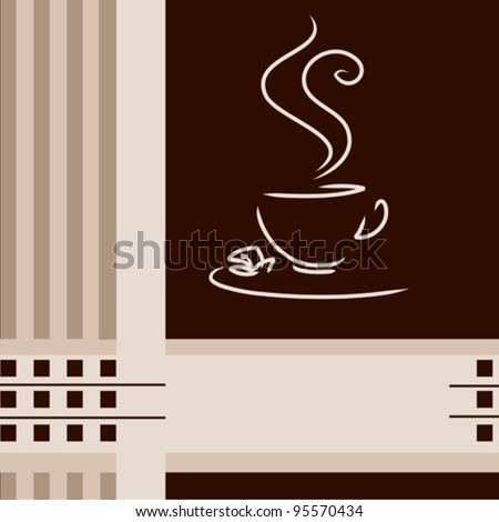 coffee cup on creative menu background - stock vector