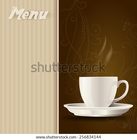 coffee cup on menu background - stock vector