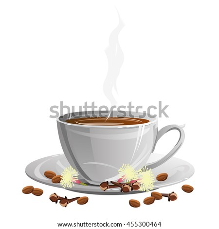 Coffee cup on saucer with coffee beans, dried clove buds and flowers. Vector illustration. - stock vector
