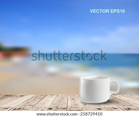 Coffee cup on table with sea.Vector illustration - stock vector
