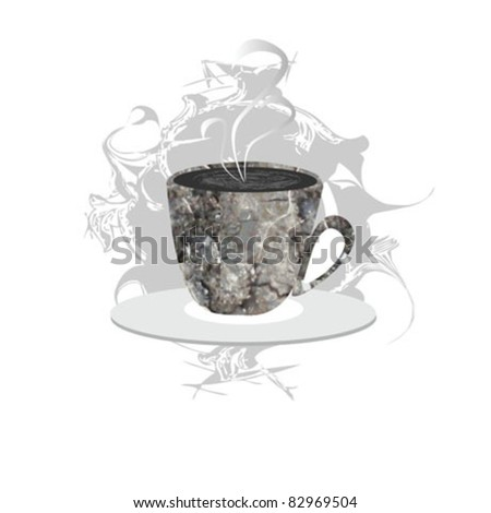 coffee cup ornate - stock vector