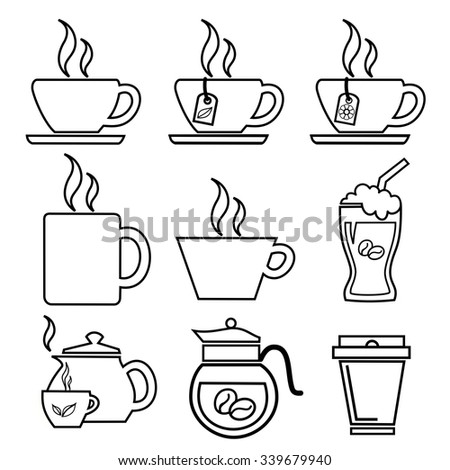 coffee cup outline icons vector