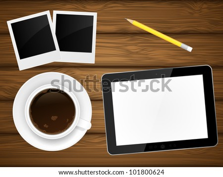 Coffee cup, photo frame and tablet pc on wooden background. Vector illustration. - stock vector