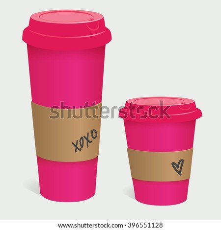 Coffee cup, pink, girly, to go, paper cup - stock vector