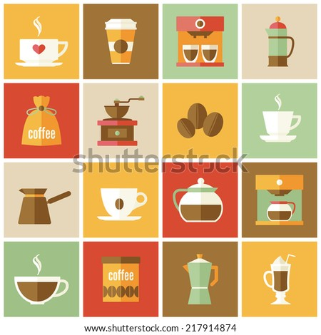 Coffee cup pot energetic drink icons flat set isolated vector illustration. - stock vector