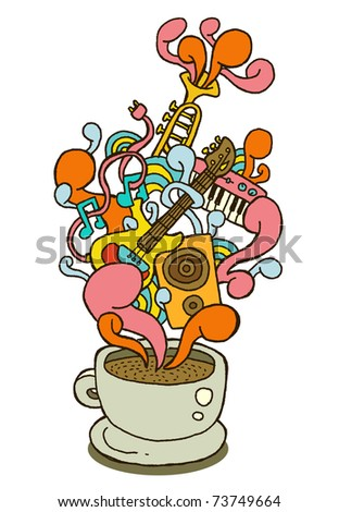 coffee cup series - music - stock vector