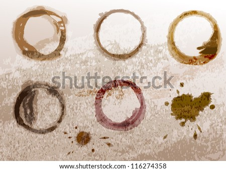 Coffee cup stain - stock vector