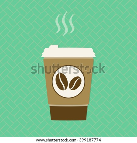 Coffee cup. Take away coffee icon. Vector illustration. - stock vector