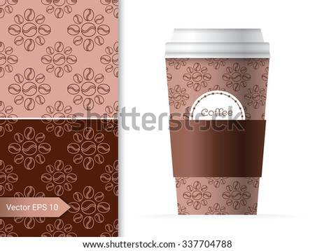 Coffee cup template illustration with the two coffee bean patterns design in brown and chocolate color. - stock vector