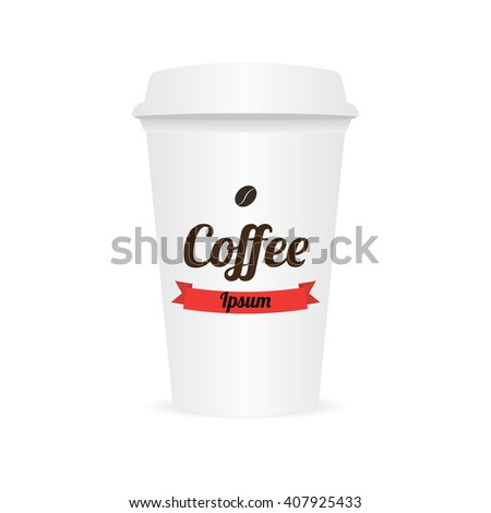 Coffee cup to go template. Design elements for coffee shops - cardboard cup with emblem and logo in trendy style.