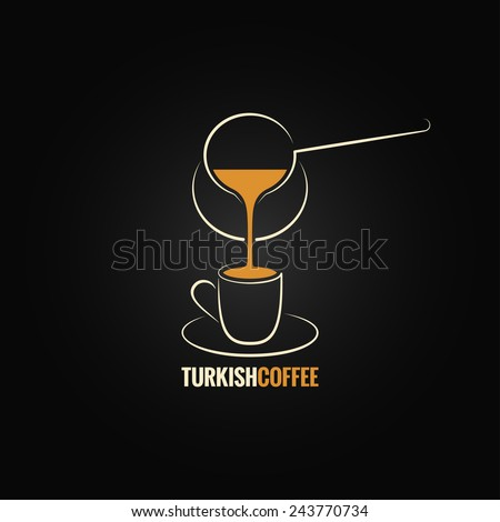 coffee cup turkish recipe background - stock vector