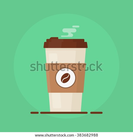 Coffee cup vector illustration.  Paper ?offee cup icon isolated on background. Plastic coffee cup with hot coffee in flat style. Coffee cup beans.