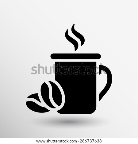 Coffee cup vector logo design template. Cafe shop emblem. - stock vector