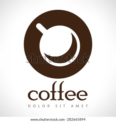 Coffee cup vector logo design template. Cafe shop emblem sign icon. - stock vector