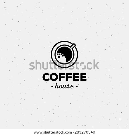 Coffee cup vector logo design template. Vector coffee shop labels. - stock vector