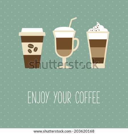 Coffee cup, vintage card - stock vector