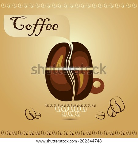 Coffee cup with coffee beans on brown background. Creative design cafe idea. Coffee or any Hot beverage icon.  - stock vector